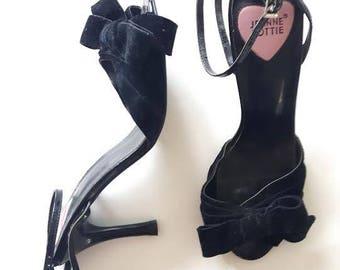 Vintage Jeanne Lottie Velvet Bow Heel strappy shoes