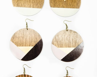 Angela Earrings/ Lasercut Wood Circles/ Doorknocker Earrings/ Large/ Big Statement Earrings