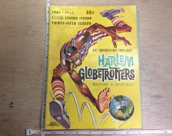 Vintage 1961-62 Harlem Globe Trotters Official Souvenir Program Thirty-Fifth Season Book Used
