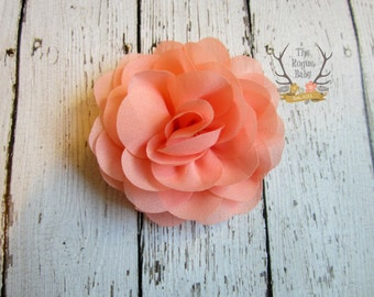 Light Coral / Peach Chiffon Rose Bridal Hair Clip  Wedding Bridal Flower Girl Flower Bride bridesmaid Women