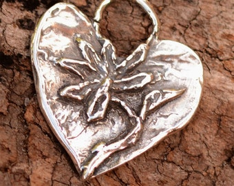 Artisan Sterling Silver Heart with Flower