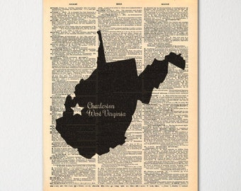 West Virginia Custom City-State Dictionary Art Print / Vintage Dictionary Paper