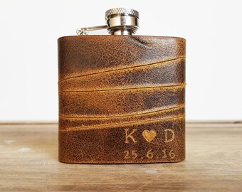 Personalised Valentines Hip Flask valentines heart with initials Leather flask Personalised love heart carving newly wed flask gift for him