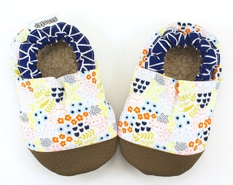 LAST PAIR 3T // baby girl shoes white and blue rubber sole shoes flower baby girl booties toddler rubber toe shoes soft sole shoes vegan
