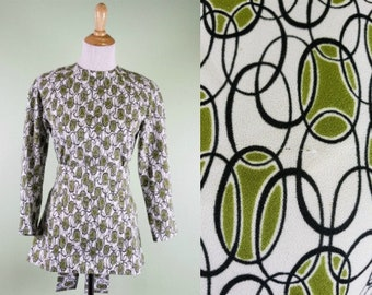 1960s Zip Back Top - Vintage 60s Geometric Tunic - Small