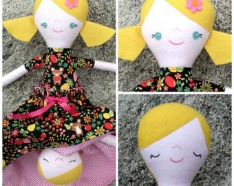 Suzy, Blonde Topsy Turvy Cloth Doll, Flip Doll