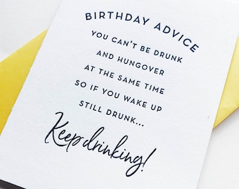 Letterpress Birthday card - Keep Drinking