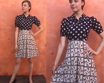 Vintage 1970s does 1940s midi dress. Casual day dress Fit and flare dress. Batik fabric. Boho dress gypsy dress pinup dress xs Size 0 2