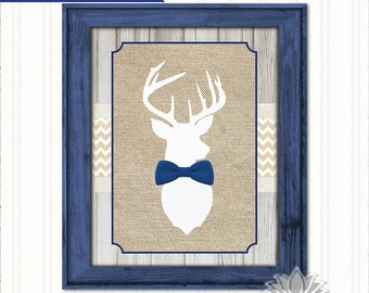 Deer Nursery Wall Art, Deer Bowtie Printable, Little Buck Nursery Print, Boy Nursery, Deer Antlers, Navy and Tan Burlap, Chevron Nursery