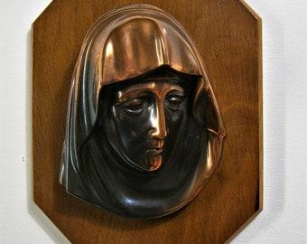 Vintage wand plaquette / wandbord / muurhanger / plaque koper op hout MARIA