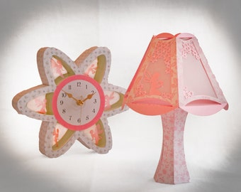 3D SVG SET Flower Clock and table lamp with Fairy design Digital Download