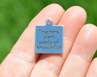 Teachers plant seeds of knowledge Custom Laser Engraved Stainless Steel Charm CC40
