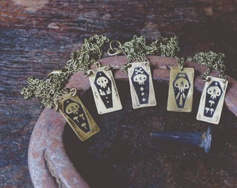 Coffins - brass necklace
