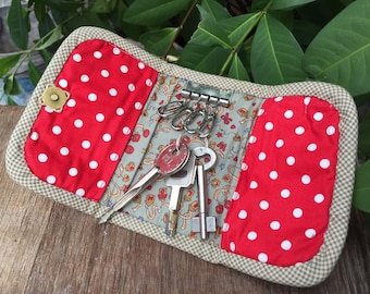 Key holder made of Japanese fabric. Rectangle size. 2 Slots for card.Handmade Item.