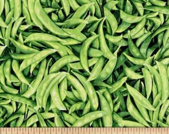 "Vegetable Fabric: Farmer's Market - Farmer John's Organic Snow Peas Packed 100% cotton fabric by the yard 36""x44"" (N511)"