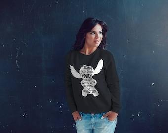 Lilo & Stitch Themed Crewneck / Cozy Crewneck Sweatshirt - Stitch Ohana Quote / Womens Cute Crew Neck Sweatshirts