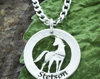 Horse Necklace Personalized with Custom Engraved Name, Equestrian pendant, Cowgirl jewelry, My horse my heart hand cut and engraved coin