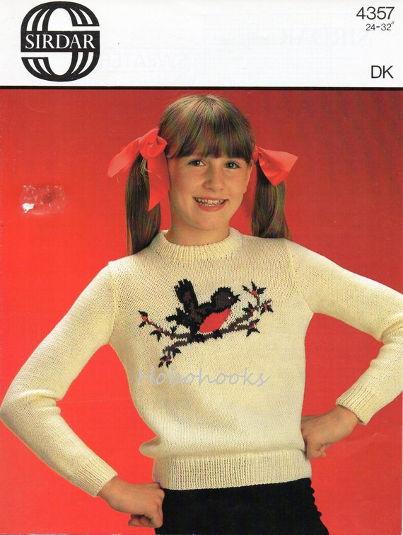 Vintage Childrens Robin Motif Sweater Knitting Pattern Pdf