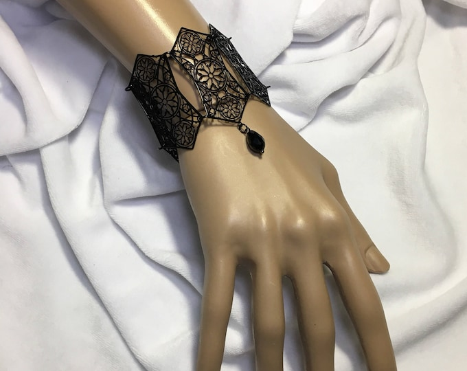 Bracelet Metal Filigree Jewelery , handmade in italy with resin bead cathedral style