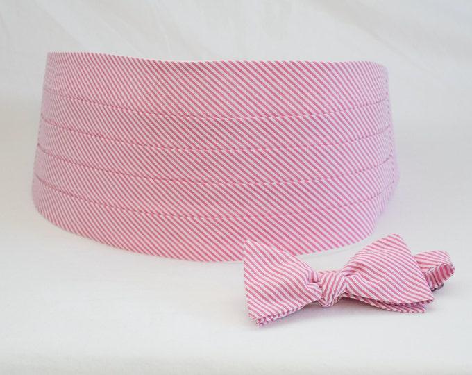 Cummerbund & Bow Tie, hot pink seersucker, wedding party menswear, stylish tuxedo accessory, groom formal wear, southern style wedding