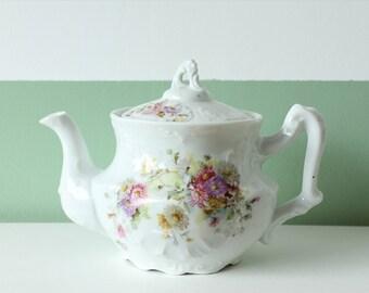 Vintage china teapot with floral decor / vintage porcelain teapot flowers