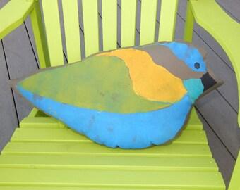 "Outdoor BIRD SILHOUETTE PILLOW 20"" hand painted multicolor birding birdwatcher ornithology sparrow bushtit all weather Crabby Chris Original"