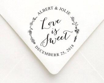 Love is Sweet Wedding Stamp, Wedding Favor, Thank You Wedding Stamp, Save the Date Wedding Stamp, RSVP Stamp