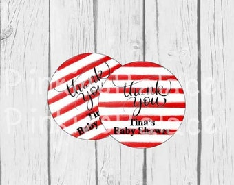 Thank You Stickers Red Stripes Personalized Baby Shower Stickers - Set of 24 - SES418