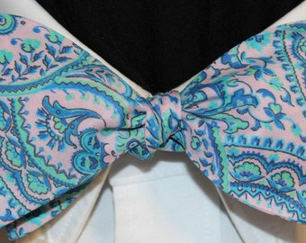 PINK ICE Bow Tie: Liberty of London cotton, self tie, handmade in your size, for well-dressed men and women; turquoise, pale pink