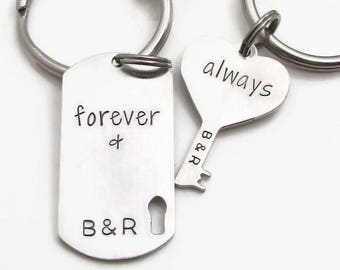 Hand Stamped Personalized Couples Keychains, Anniversary Keychains, Couples Keychain Set, His & Her Keychains, Personalized Wedding Gift