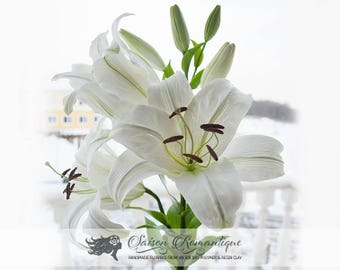 White Lily - Polymer Clay Flowers