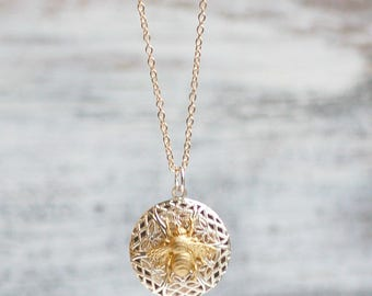 Bee Locket Necklace, Gold Bee Pendant, Silver Lace Locket, Gold Bumblebee, Honeybee Necklace, Perfume Locket Pendant, Gift for Her,Honeycomb