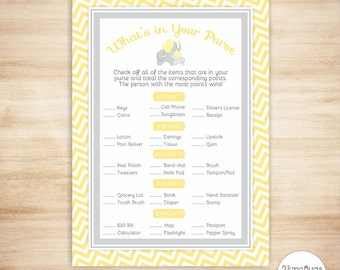 Elephant Whats in your Purse Game - Baby Shower Game - Yellow Chevron - PRINTABLE, INSTANT DOWNLOAD