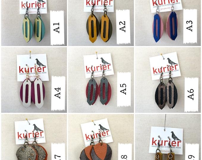 Unique shape leather earrings