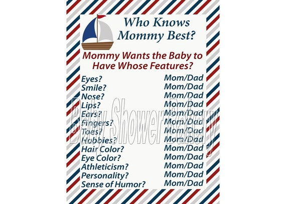 Nautical Baby Shower Game Who Knows Mommy Best Game Nautical