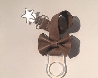 Pacifier clip / pacifier in Brown faux leather is handmade in France