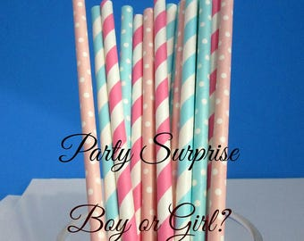 Blue Pink Straws Gender Reveal Party Straws Pink and Blue Straws Fancy Straws Baby Boy Baby Girl Party Straws