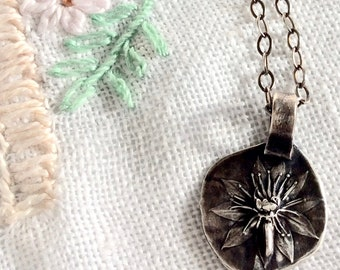 silver sempervivum succulent necklace : botanical jewelry . flower jewelry . gardener gift . plant lover . handcrafted silver pendant .