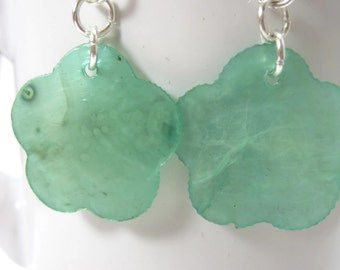 Green Capiz Shell Flower Earrings