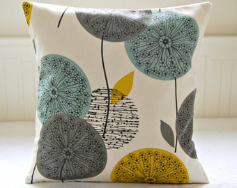 mustard yellow, blue teal grey decorative pillow cover, dandelion flower cushion cover 18 inch