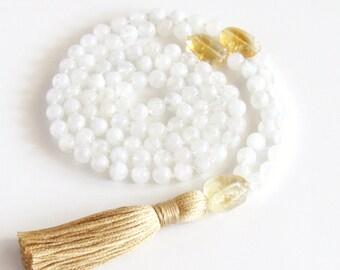 Moonstone Mala Necklace Citrine Mala Authentic 108 Buddhist Mala Meditation Necklace Yoga Necklace Tassel Necklace  Gift