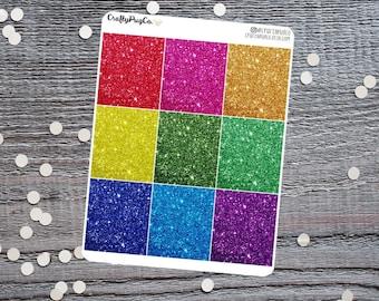 Glitter Headers RAINBOW Bright // Planner Stickers, Faux Glitter