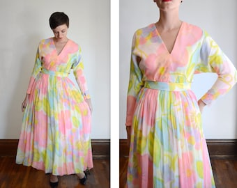 Early 1970s Pastel Floral Chiffon Maxi Dress - M