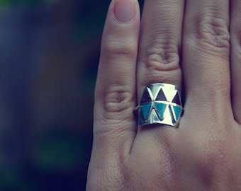 Sterling Silver Ring, Tribal, Ethnic, Chocolate,  Turquoise, Modern, Contemporary, Geometric