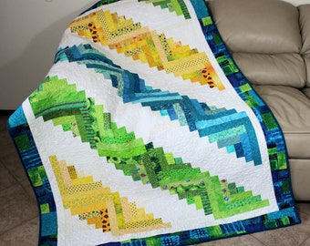 Bright Scrappy Log Cabin Quilt or Sofa Throw, Quilted Throw White, Blue, Yellow and Greens, Quiltsy Handmade Patchwork Lap Quilt