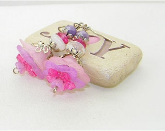 Pink and lilac lucite and glass flower dangle earrings, Flower earrings, Garden, Summer, Bride, Wedding, Mothers day, Gift,Whimsical Jewelry