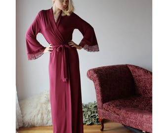 long bamboo robe with lace trimmed bell sleeves - ready to ship - size small - color red