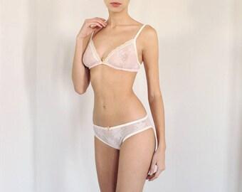 Blush Pink Lace Bralette and Panties Lingerie Set, Sheer bra