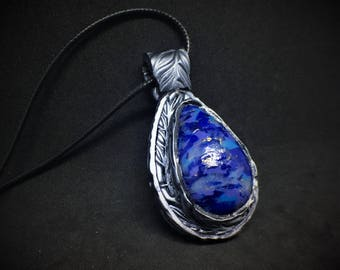 Faux Lapis Lazuli Tear Drop Pendent, Silver Fern Imprinted Base, Polymer Clay,