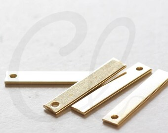 20 Pieces Raw Brass Rectangle Charm - 25x5mm (3589C-V-217)